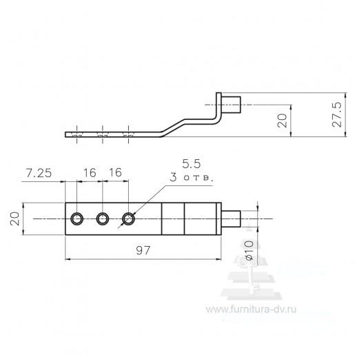 Механизм поворота вставки стола (изогнутый) ДМ 001V
