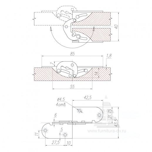 Петля для вставки стола 16-19 мм, ДМ 5104 180гр.