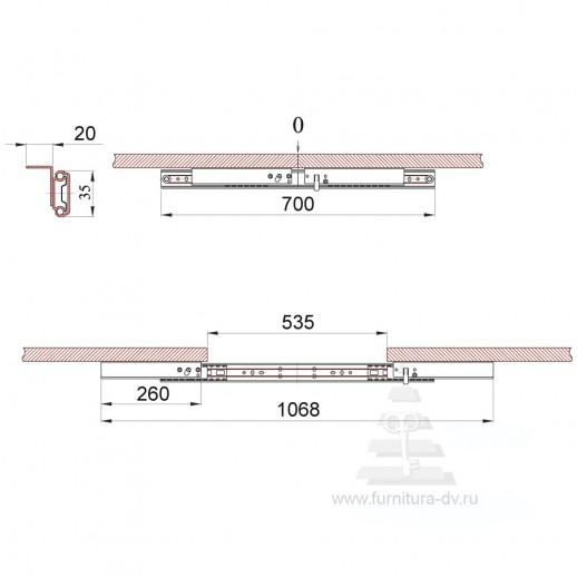 Механизм ТД 35/ 700 SB для раздвижных столов