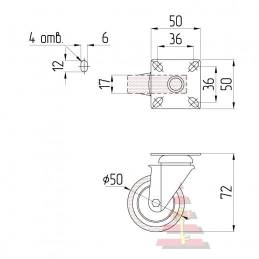 Резиновое колесо Ø= 50 мм (эконом) поворотное на площадке