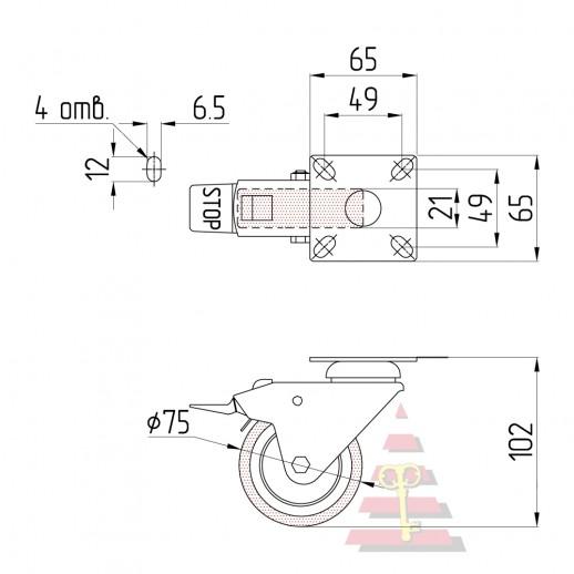 Резиновое колесо Ø= 75 мм (эконом) поворотное на площадке с тормозом