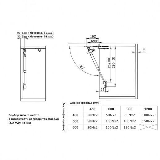 Газовый лифт с доводчиком/амортизатором