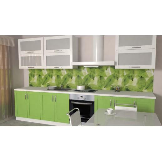 Кухонная панель AF25 глянцевая, Зеленые листья