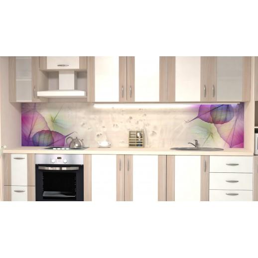 Кухонная панель AF26 глянцевая, Сиреневые листья