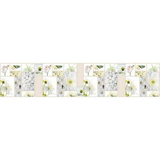 Кухонная панель AF27 глянцевая, Белые цветы