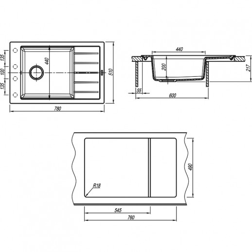 Кухонная мойка Липси 780Р, Флорентина