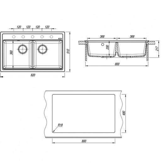 Кухонная мойка Липси 820, Флорентина