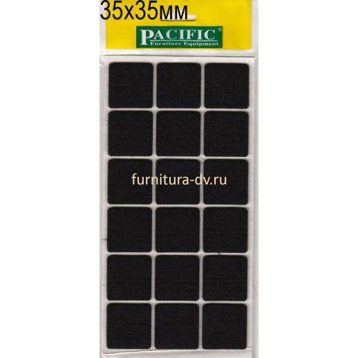 Подпятник 35*35 мм самоклейка, квадратные, резина