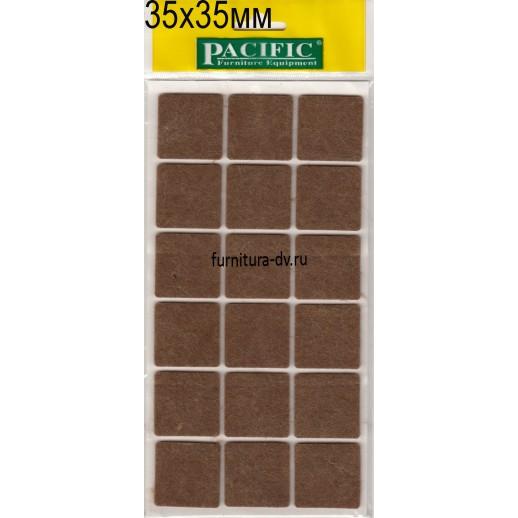 Подпятник 35*35 мм самоклейка, квадратные, фетр