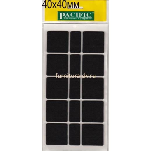 Подпятник 40*40 мм самоклейка, квадратные, резина