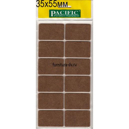Подпятник 35*55 мм самоклейка, квадратные, фетр