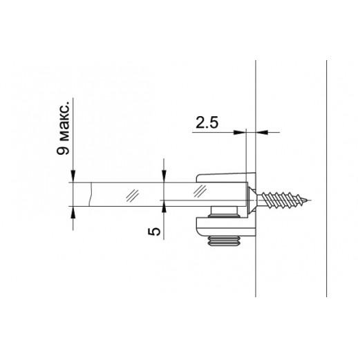 Полкодержатель для стекла, крепление под саморез,  MV 09