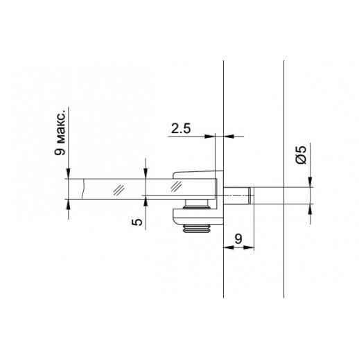 Полкодержатель для стекла со штоком, MV 08