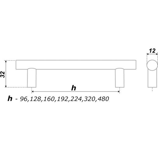 Рейлинговые ручки, Никель (межосевое расстояние 96 мм - 480 мм)