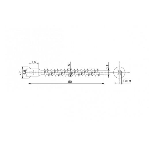 Конфирмат 5*50 мм (мебельный евровинт)