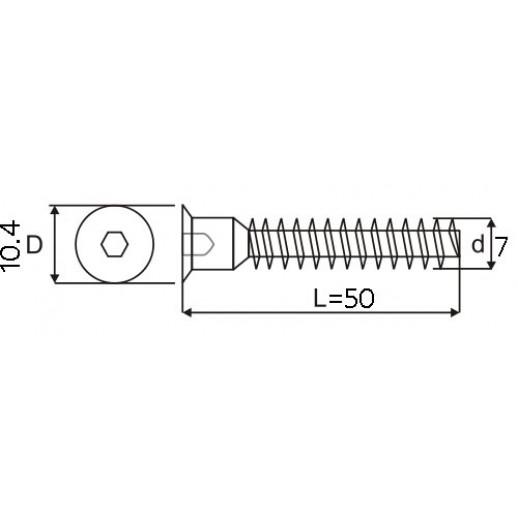 Конфирмат 7*50 мм (мебельный евровинт)