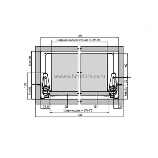 Выдвижной ящик L=500 мм, H=164 мм Comfort Box REJS