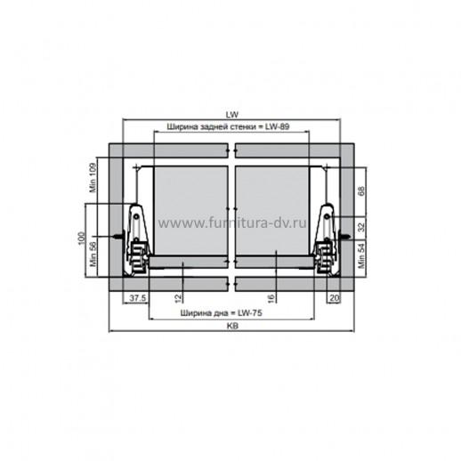Выдвижной ящик L=500 мм, H=86 мм Comfort Box REJS