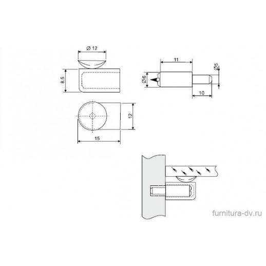 Полкодержатель для стекла с присоской, MV 02