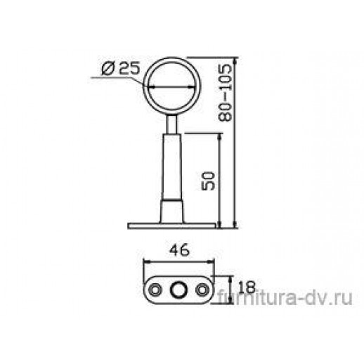 Держатель регулируемый дистанционный проходной Д=25 мм, R50/R