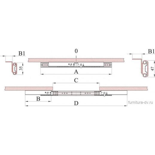 Механизм для раздвижных столов ТД 35/ 700 SB